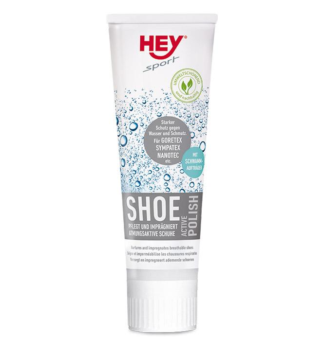 HEY sport Shoe ACTIVE Polish pflegt und imprägniert atmungsaktive Schuhe aus Leder, Velour, GORETEX, Sympatex, Nano-T Schwarz