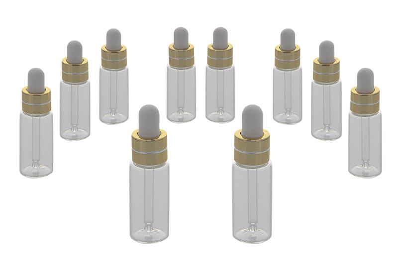 Serumflaschen Kosmetex, Gold mit Pipetten kleine Pipettenflasche je 5 ml Volumen mit weißer Silikon Pipette 10× gold