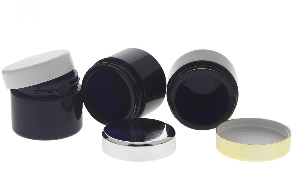 Violett Glas-Tiegel 100ml mit Deckel, Leere Glas-Dose Kosmetex Violettglas Kosmetik-Dose, Salbentiegel, Cremedose