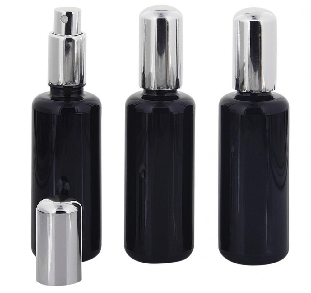 Violettglas Sprühflasche, m. silber Pumpe, Zerstäuber Kosmetex Mironglas Flakon, Glas-Flasche, stark lichtschützend, leer, 50 ml 3× 50 ml Violettglas