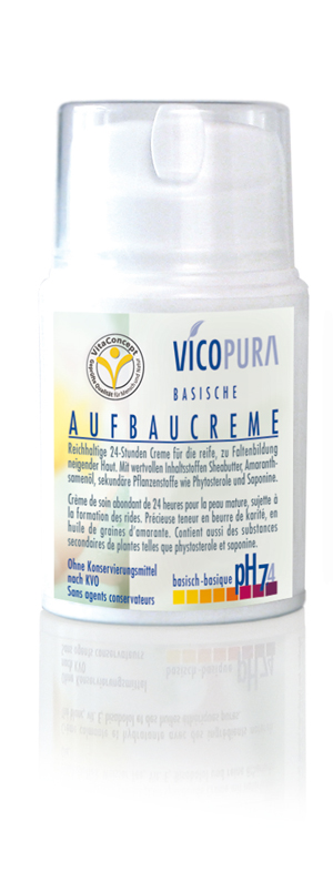 VICOPURA 24 Std. Aufbaucreme, basisch, pH 7.4, Basencreme die Aufbaut, Tagescreme und Nachtcreme, 50 ml