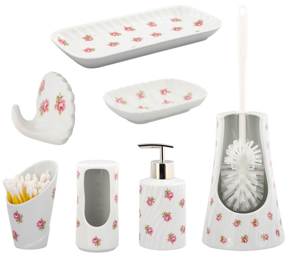 Bad Porzellan Serie Die Rose vom Tegernsee, Weiß mit kleinen Rosen im Dekor, Kosmetex