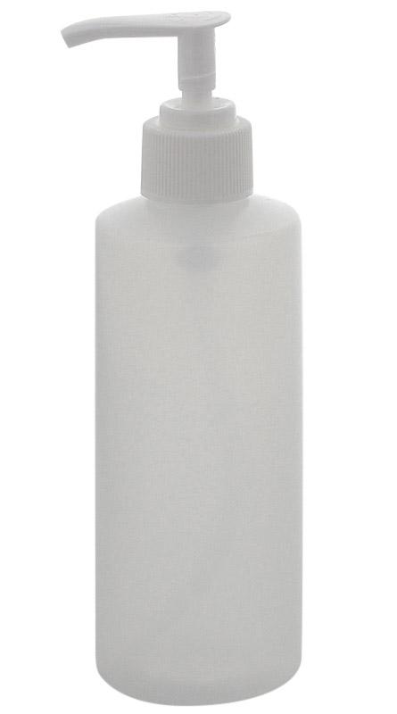 Luzente Flasche mit Pumper, Kosmetex Seifenspender Gelspender, leer, rund, klar 200 ml 1× klar