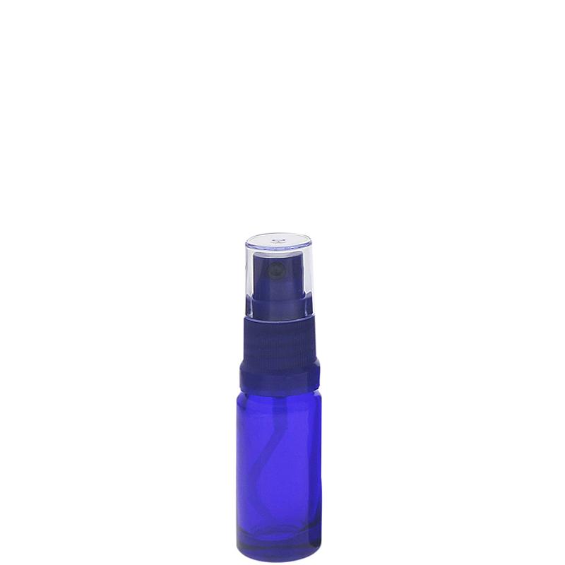 Blauer Glas Flakon, Blauglasflasche mit blauen Zerstäuber, Kosmetex Sprühflasche, Glasflasche mit Pumpzerstäuber 10 ml