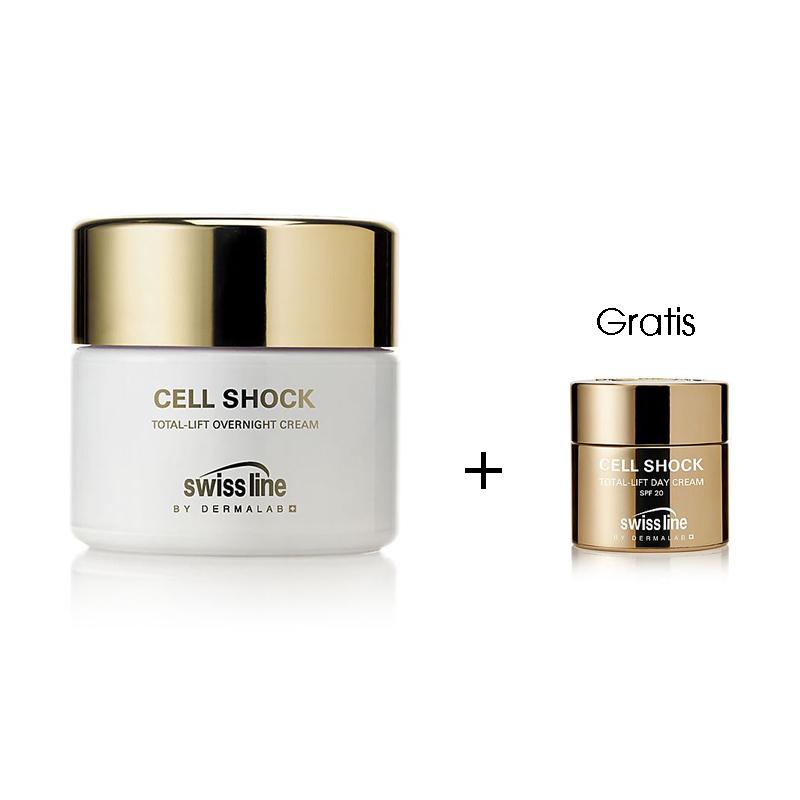 Swiss line Cell Shock Total Lift Overnight Cream, Anti-Aging mildert Falten, strafft die Haut, gegen Hautalterung, 50ml