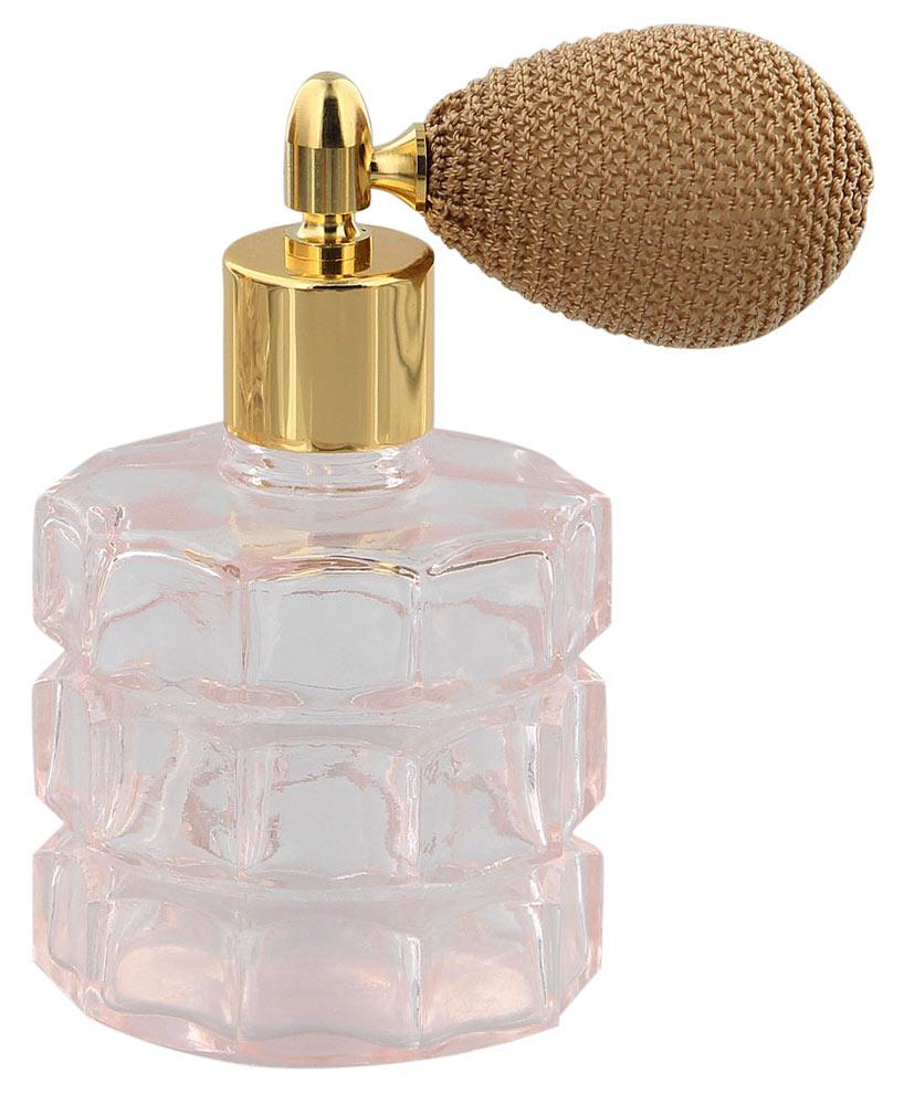 Rose Glas Flakon Rund, 75 ml für Parfüm-Zerstäuber, leer mit als Ballpumpe Farbe Gold, rosa, Kosmetex