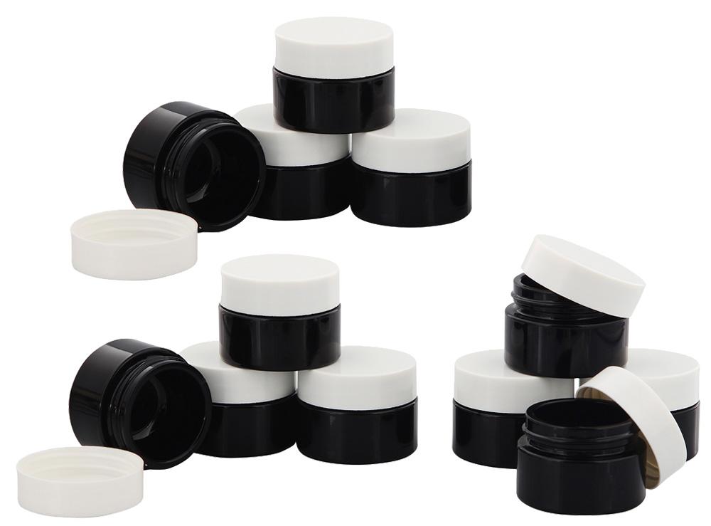 Violett Glas-Tiegel m. Deckel, 15 ml Kosmetex Kosmetik-Tiegel, Salbentiegel, Cremedose 12× weiß