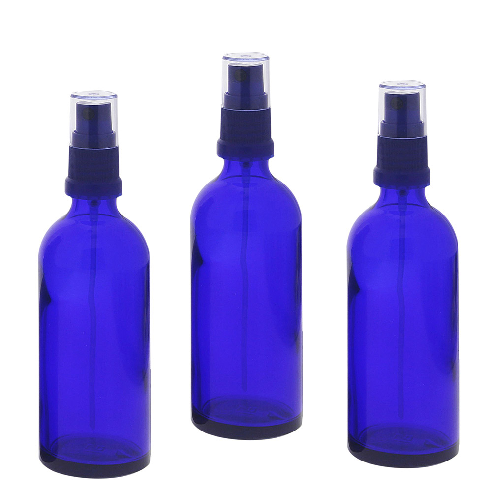 Blauer Glas Flakon 100ml, Blauglasflasche mit blauen Zerstäuber, Kosmetex Sprühflasche, Glasflasche mit Pumpzerstäuber 3× 100 ml