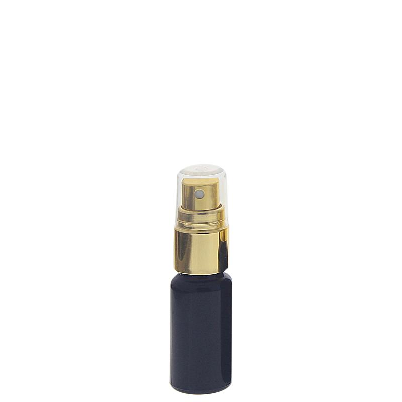Violettglas Sprühflasche, stark lichtschützend, Glas-Flasche Miron mit gold. Pumpzerstäuber, Flakon Kosmetex 10 ml
