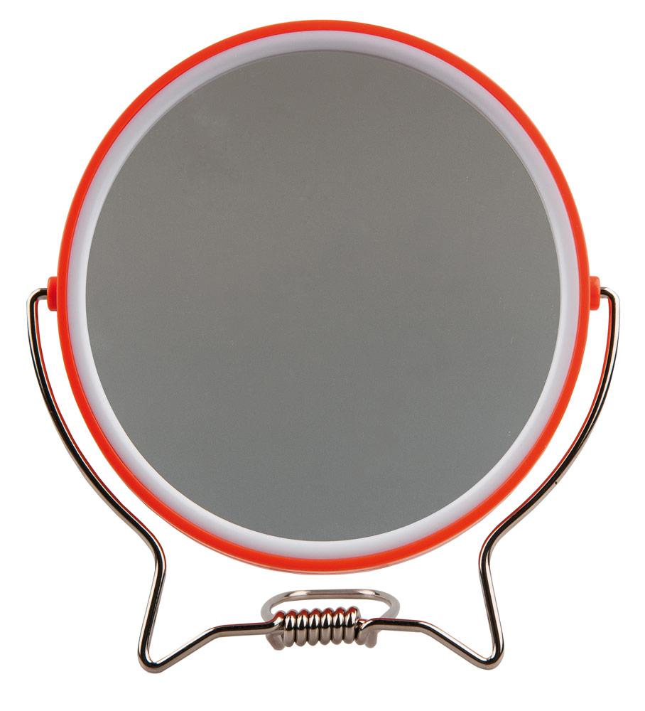 Rasierspiegel, Spiegel, 2-fach, zum Stellen oder Aufhängen, Kosmetik-Spiegel mit 2 Seiten Orange