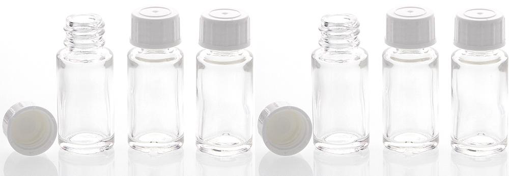 Klar-Glasflasche 10ml, leere Flasche mit Schraubverschluss, Flasche zum Selbst Befüllen, nur 6 cm hoch, Kosmetex 6 Stück