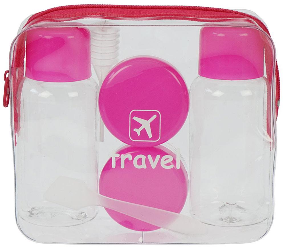 Travel-Set Kosmetex mit Flaschen, Dosen für Flüssigkeiten und Cremes im Handgepäck, Flugzeug, Reise-Set, 7-teilig Pink
