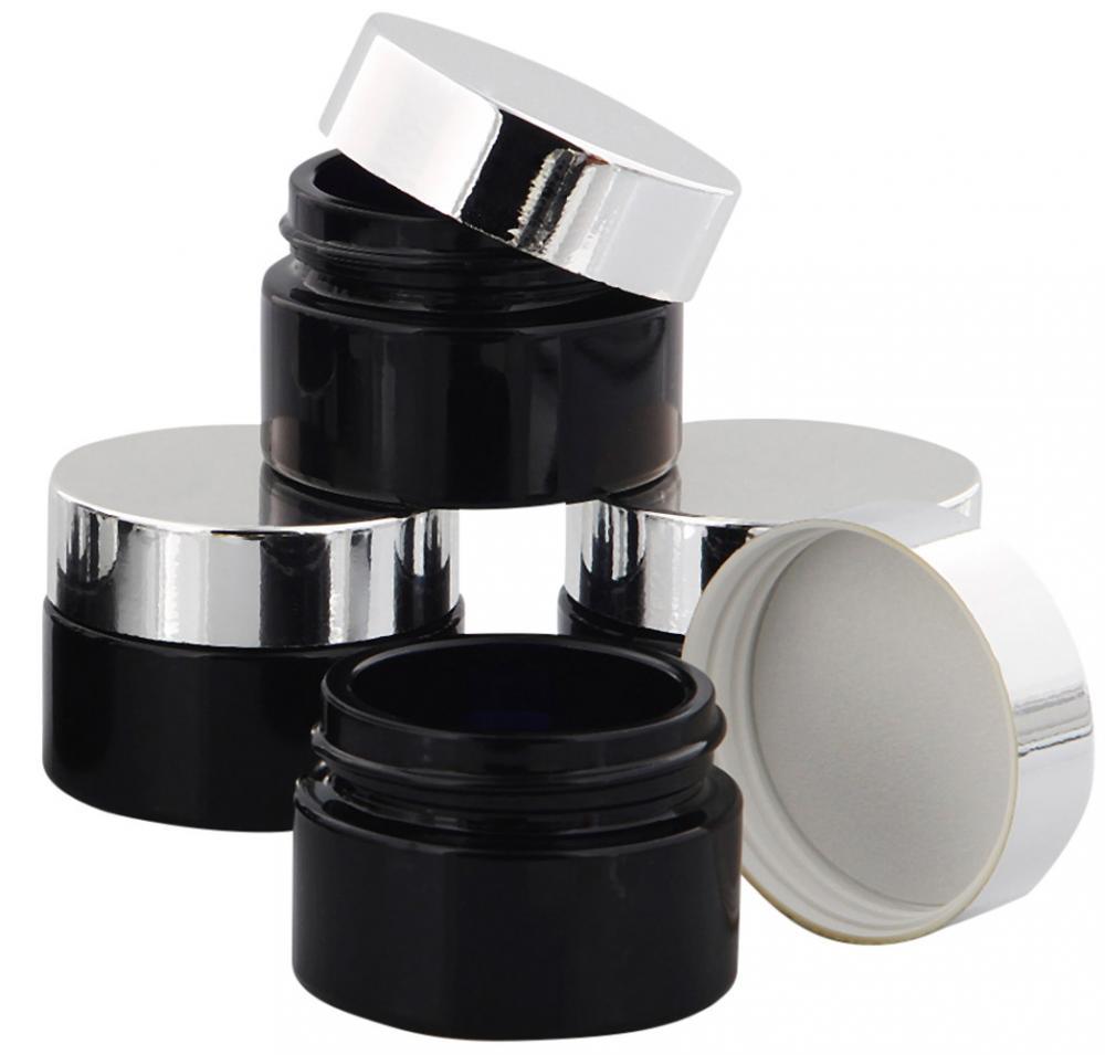 Violett Glas-Tiegel Miron m. Deckel, 15 ml Kosmetex Kosmetik-Tiegel, Salbentiegel, Cremedose 4× silber