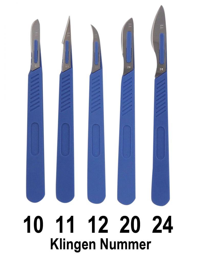 10x Einwegskalpell, Klinge Figur 10, 11,12,20 oder 24, Kosmetex Einmal Skalpelle, einzeln steril verpackt