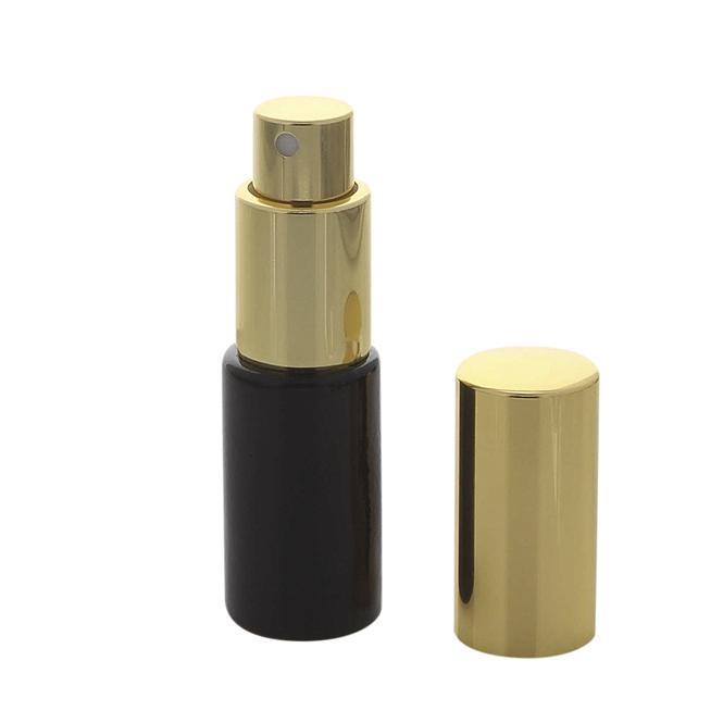 Parfümflakon Kosmetex Zerstäuber, schwarz Glas 10ml Flakon für Parfum, Cologne, leer mit Zerstäuber Gold