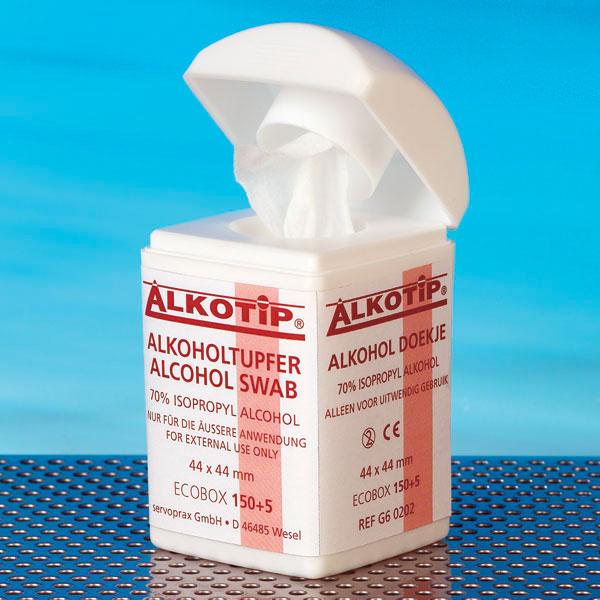Alkotip Alkoholtupfer, Desinfizierung und Reinigung der Haut, für Wunden, Piercings, Dispenserdose, 155 Tücher