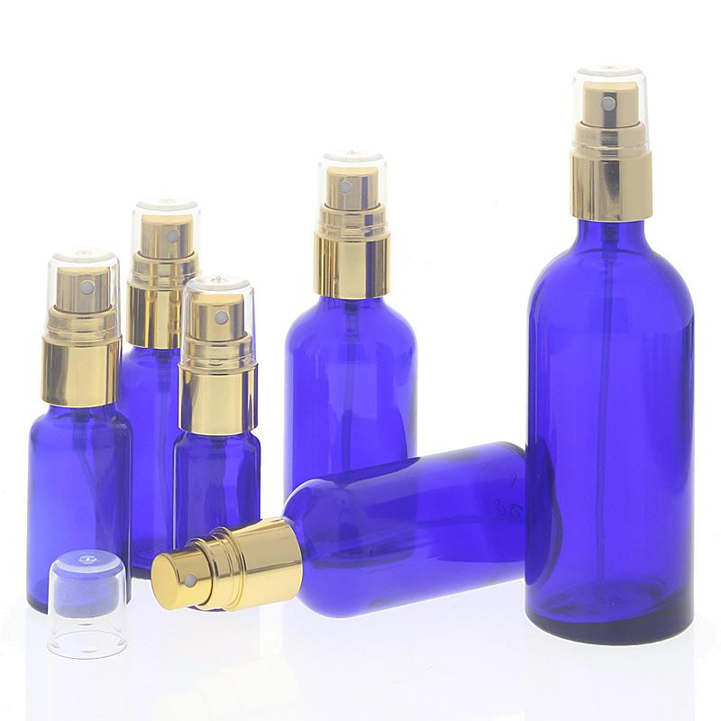 Blauglas Zerstäuberflasche, Sprühflasche, Gold Pumpzerstäuber. Kosmetex Parfümflakon