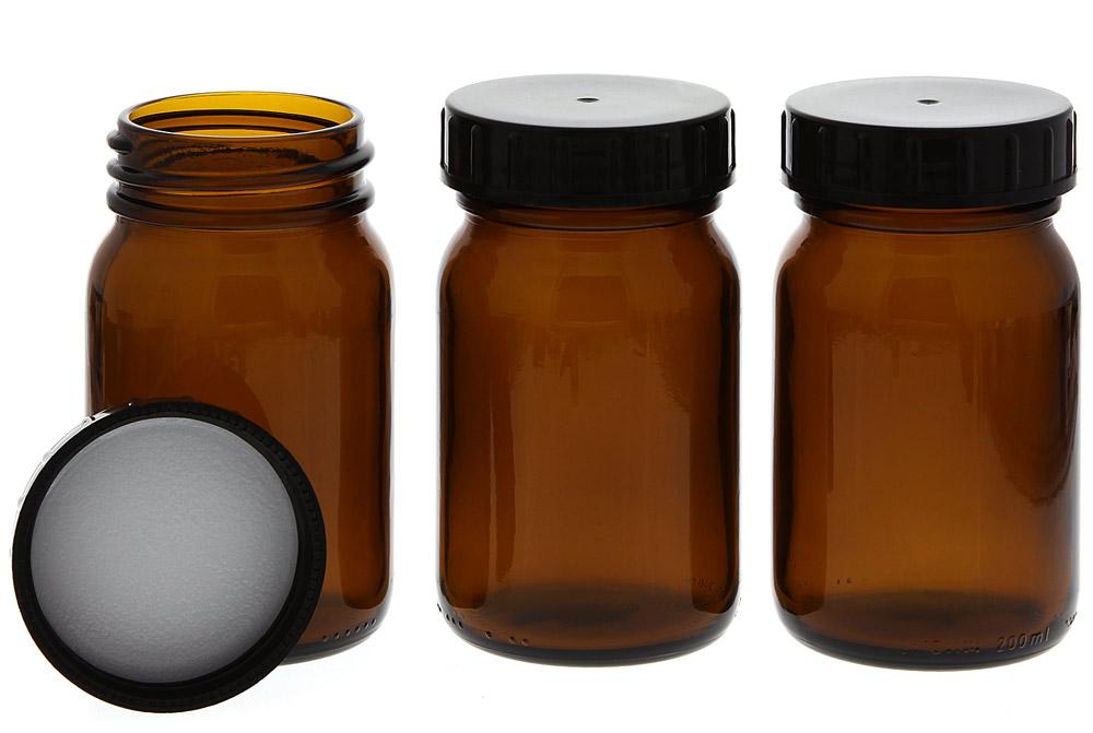 Weithalsflasche, Braunglasflasche m. Kunststoff-Deckel, leer Kosmetex Glasdose, Flasche, 200 ml 3× 200 ml
