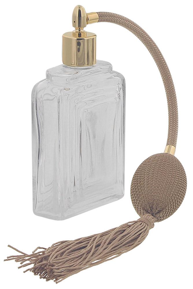 Zerstäuber für Parfüm, Glas Flacon Raute mit Ball u. Quaste Kosmetex Pumpzerstäuber für Parfüm 100ml Gold