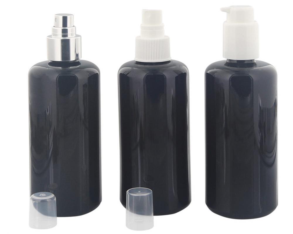 Spender-Flasche, Pumpspender, Pumpzertsäuber, 200 ml Kosmetex Violett-Glas Flakon, leer