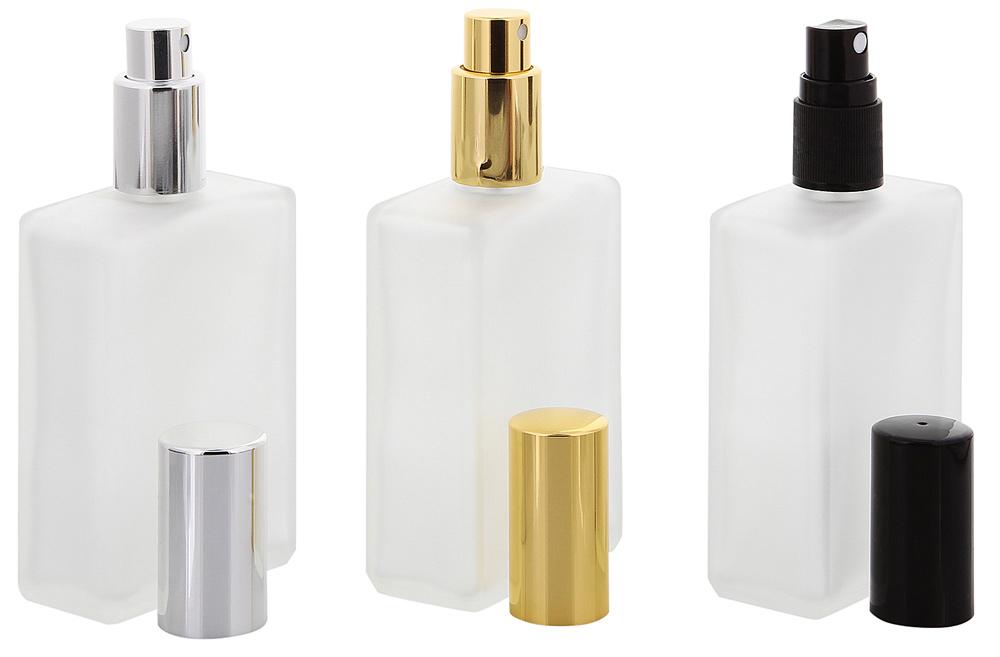 Kosmetex matt Glas-Flakon 100 ml, klassisch rechteckig Parfümzerstäuber mit Silber farbenem Zerstäuber