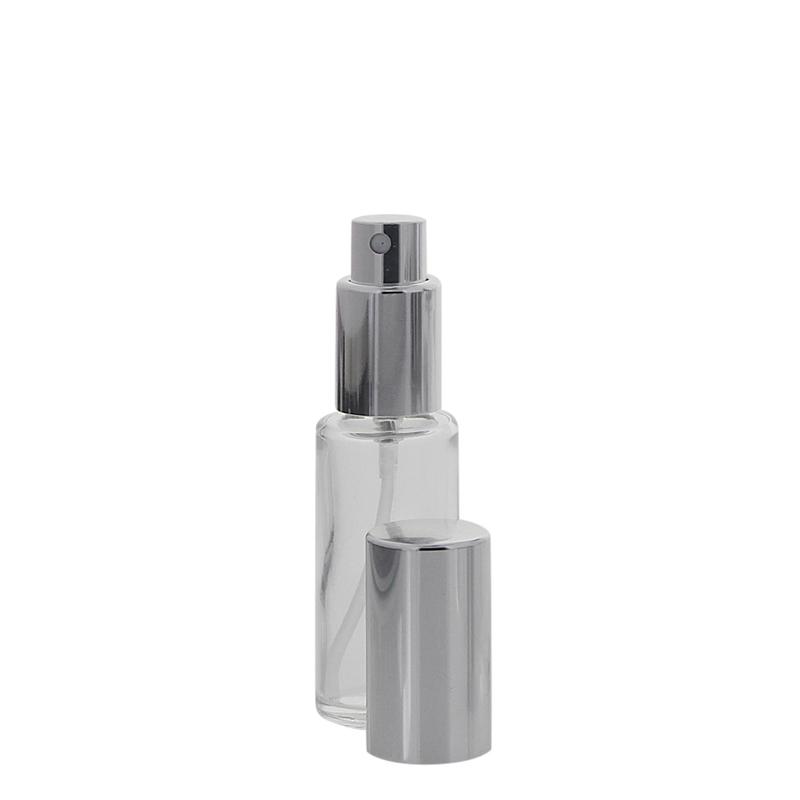 Runder Klarglas Kosmetex 20ml Flakon mit silber. Zerstäuber, Silber