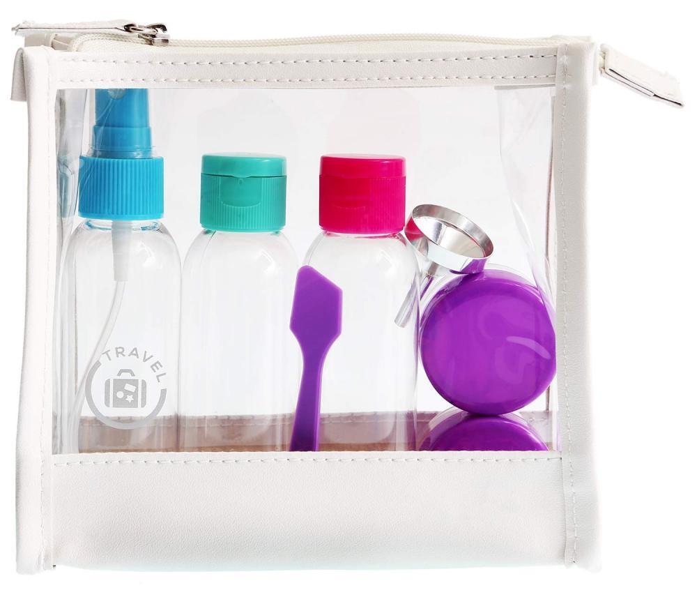 Reise-Set Kosmetex mit Behältern für Flüssigkeiten und Cremes, Travel-Set, Flugzeug, Handgepäck