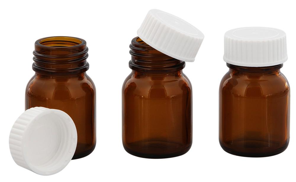 Braunglasflasche m. Kunststoff Deckel, Weithals-Flasche, 25 ml Kosmetex Glasdose aus Braunglas, Leer 3× weiß