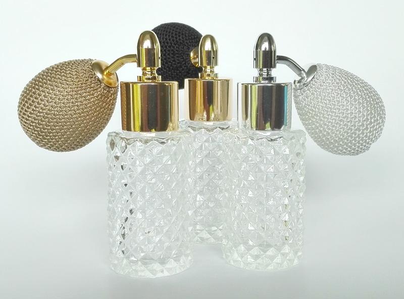 Kosmetex Glas-Flakon leer mit Kristallschliff, 25ml Parfüm-Zerstäuber mit Ballpumpe
