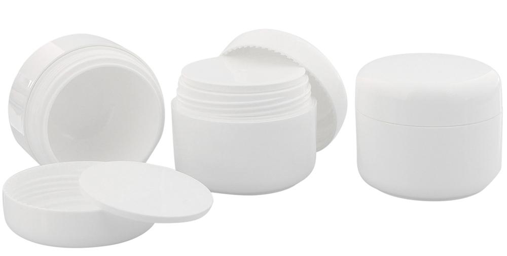 Leere Dose, Kosmetikdose weiß, 50ml Kunststoffdose, Cremedose, Kosmetex 6× 50ml