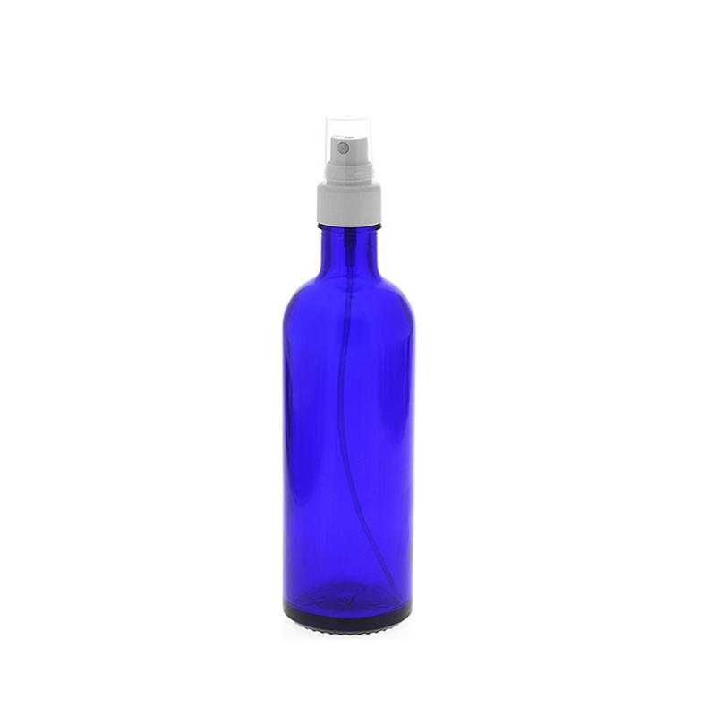 Blauer Glas Flakon, 200ml Blauglasflasche mit weißen Zerstäuber, leere Kosmetex Sprühflasche, Glas-Flasche 200 ml