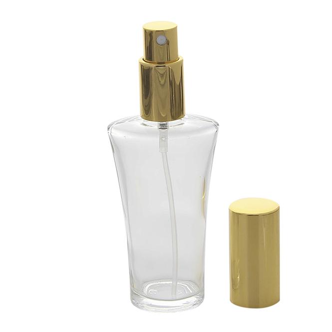 Parfümflakon Glas mit Zerstäuber, 50 ml Kosmetex Flakon für Parfum, Colognes, leer zum selber Befüllen Gold
