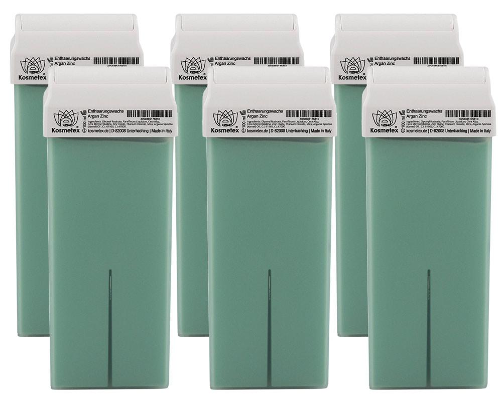 Kosmetex Wachspatrone Zinc Argan Öl, Titanium Warmwachspatronen Roll-on für Haarentfernung, Roller Breit, 100ml 6 Stück