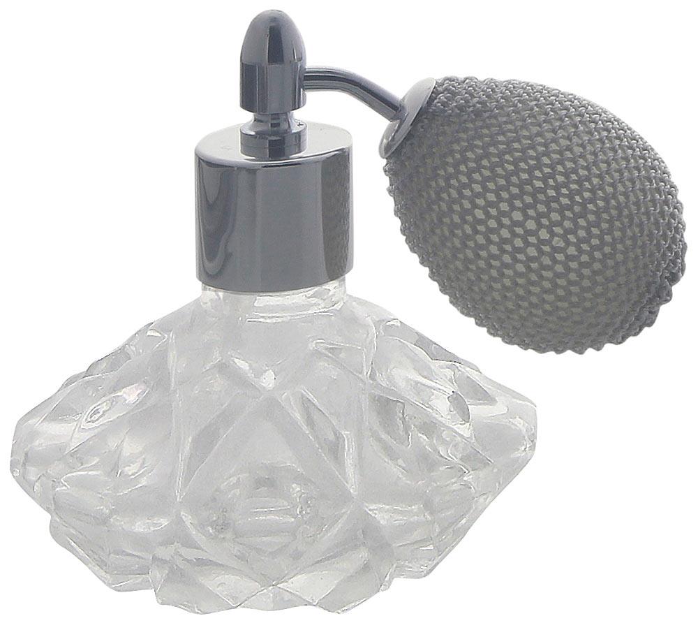 Kosmetex Glas Flakon mit Kristallglasschliff, 25ml für Parfum, Gesichtswasser, Raumduft, leer mit Zerstäuber Sternform