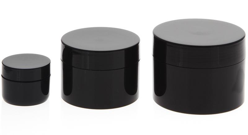 Creme-Dosen für Pflege, doppelwandige leere Creme-Tiegel, schwarz, 10, 50, 100 ml 3er Set