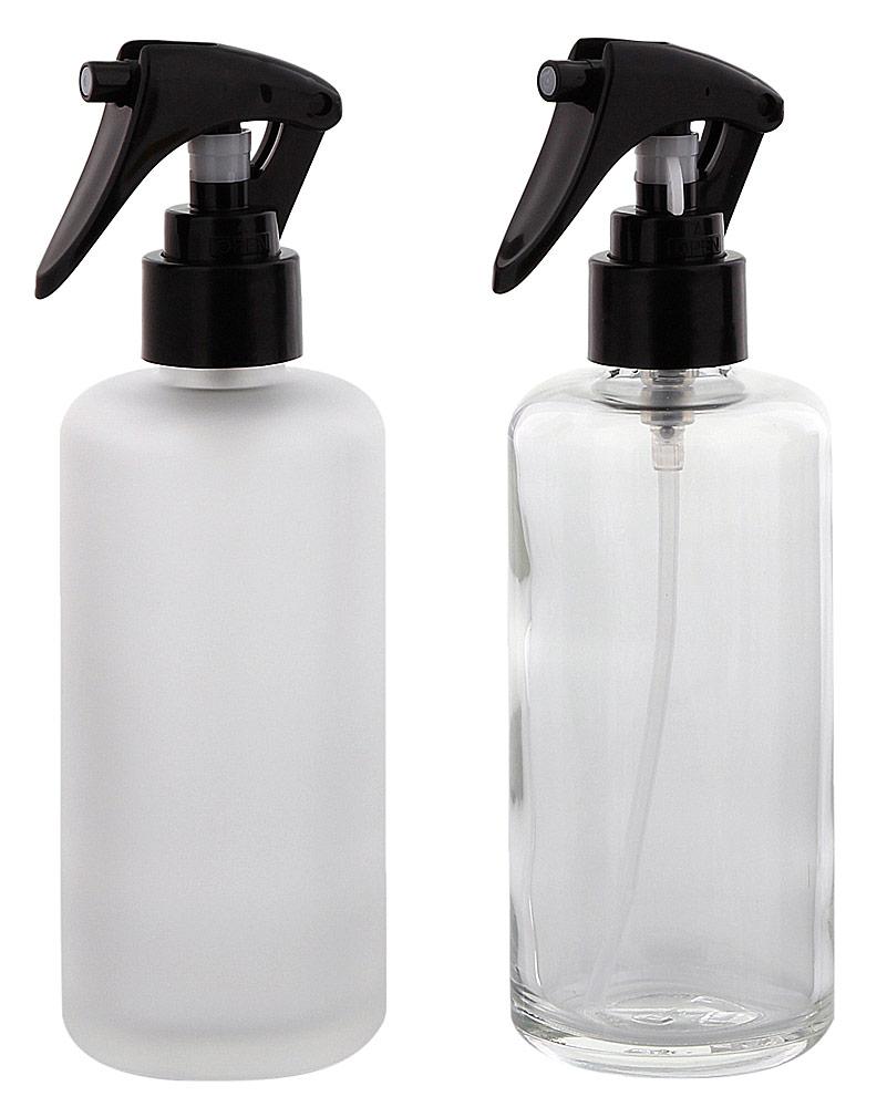 Glas Sprüh-Flasche 200 ml Kosmetex Klar oder Matt mit Sprühkopf Zerstäuber, leer
