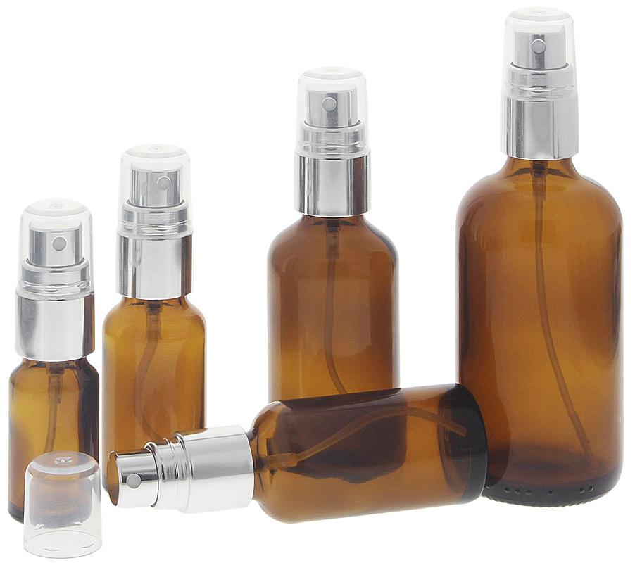 Braunglas Zerstäuberflasche, Sprühflasche mit silber. Pumpzerstäuber. Kosmetex Parfümflakon