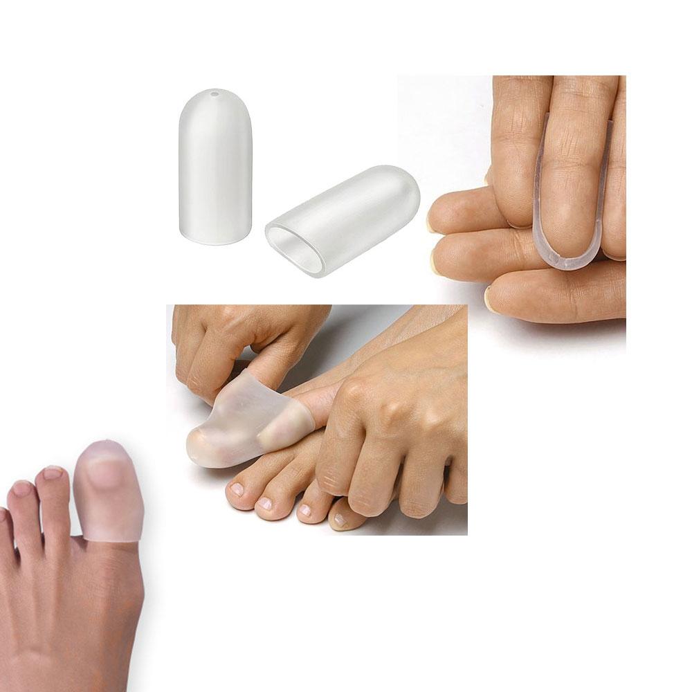 2x Gel Zehenkappe mit Loch, Kosmetex Zehenhaube, Fingerkappe, dehnbar und elastisch Mittel