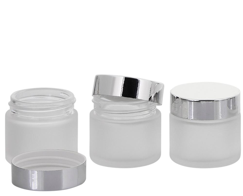 Matt Glas-Tiegel 30 ml m. Deckel, Leere Kosmetex Glas Creme-Dose, Kosmetik-Dose 3× 30 ml Mattglas mit Silber Deckel
