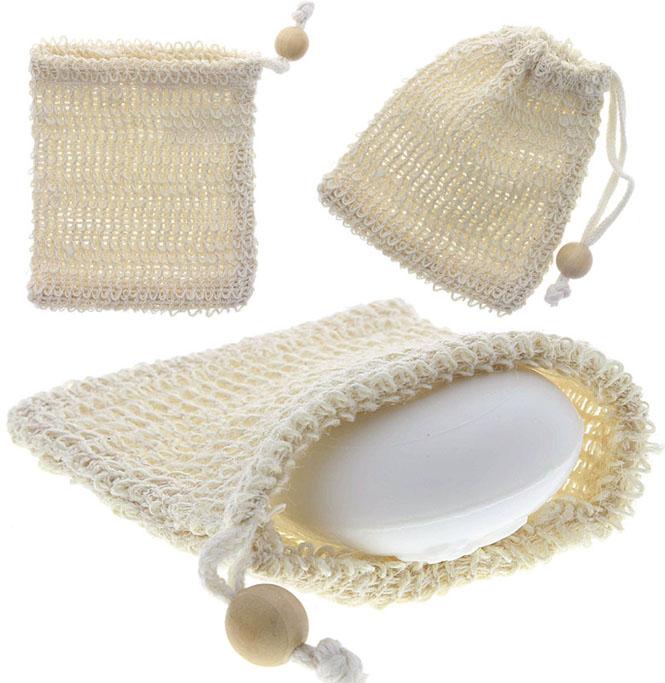 Sisal Seifensäckchen Kosmetex, für Seifenreste, Seifschwamm, Duschschwamm zum Einseifen, Badeschwamm, Groß 11x13cm 1 Stück