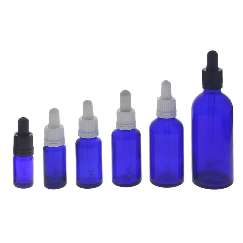 Kosmetex Blauglasflasche mit Pipette, leere blaue Glasflasche, Pipettenflasche mit kompletter Pipettenmontur.