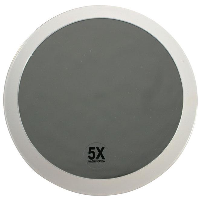Spiegel, rund mit 5 facher Vergrößerung. Ø 19 cm Saugnapfspiegel an Kacheln oder Badezimmerspiegel befestigbar.
