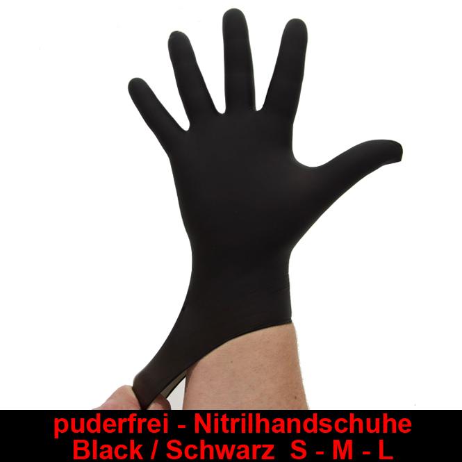 Nitrilhandschuhe Schwarz Black,Einmalhandschuhe, Einweghandschuhe,100 Stück Größe L
