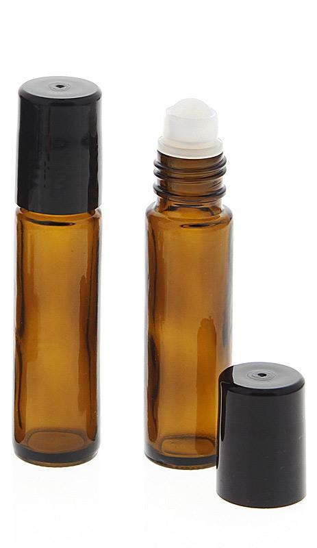 Braunglas Deostick 10ml, Kosmetex leere Roll-on-Flasche mit Deo-Roller zum Selbst befüllen