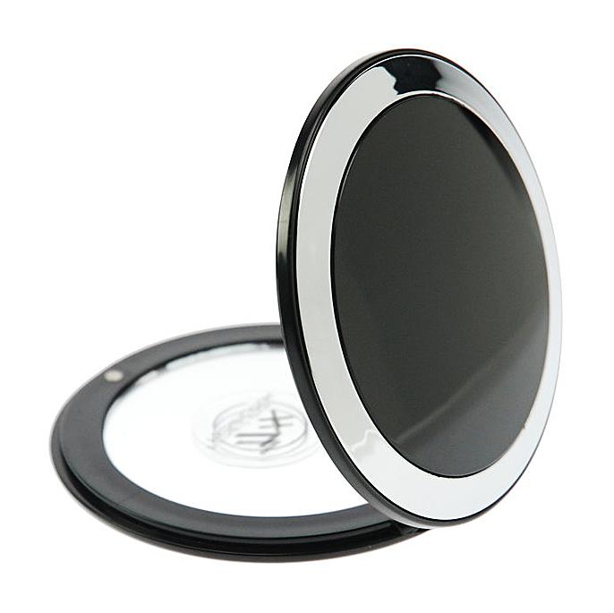 Taschen-Spiegel Kosmetex Spiegel mit 7-fach Vergrößerung und Magnetverschluss, Ø 8.5 cm Schwarz
