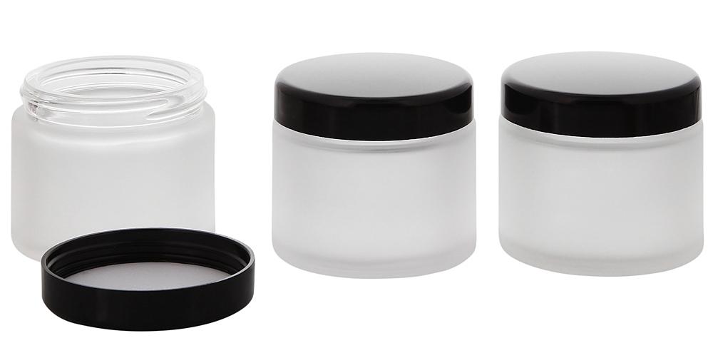 Matt-Glas Tiegel 100 ml m. Deckel, Leere Kosmetex Glas Creme-Dose, Kosmetik-Dose 3× 100 ml Mattglas