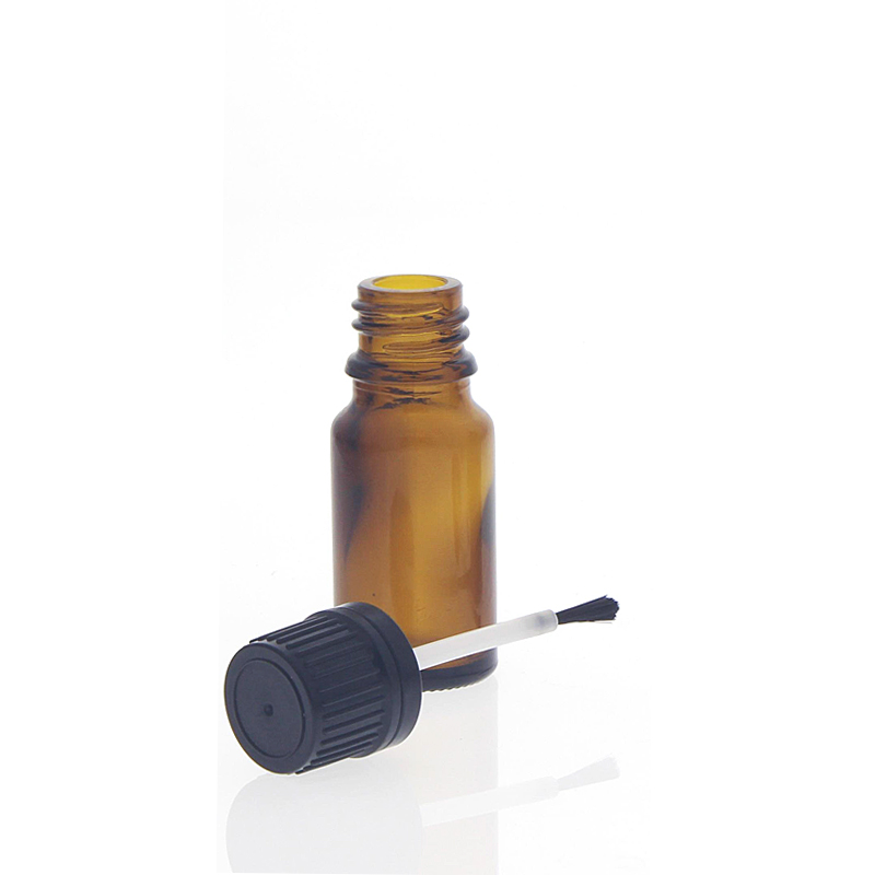 Braunglasflasche mit Pinsel. 10ml Runde Glasflasche mit Pinselmontur.