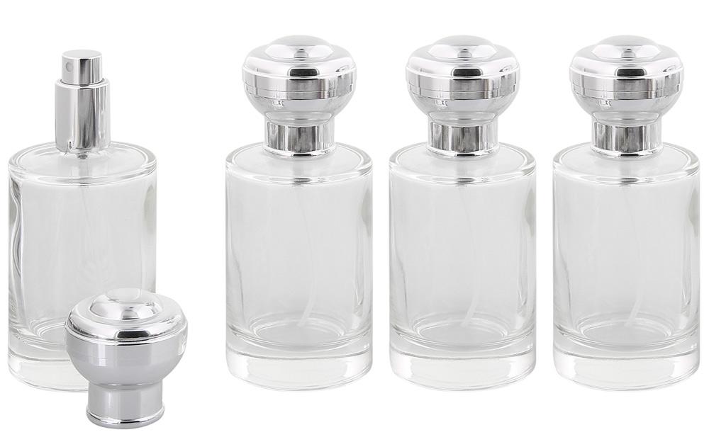 Runder Glas-Zerstäuber, m. großer Kugelkappe Kosmetex Parfüm-Flakon, 100 ml 4× silber