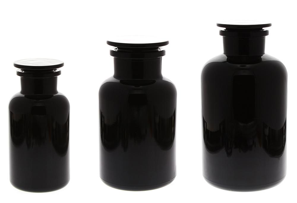 Apothekerglas Mironglas Violett-Glas, Kosmetex Apothekerflasche , rund m. Glasstopfen Miron