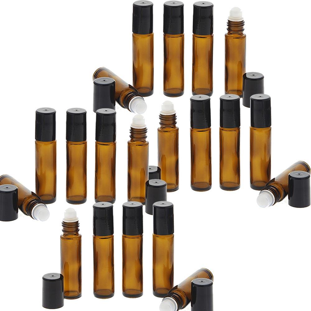 Braunglas Deostick 10ml, Kosmetex leere Roll-on-Flasche mit Deo-Roller zum Selbst befüllen 20 Stück